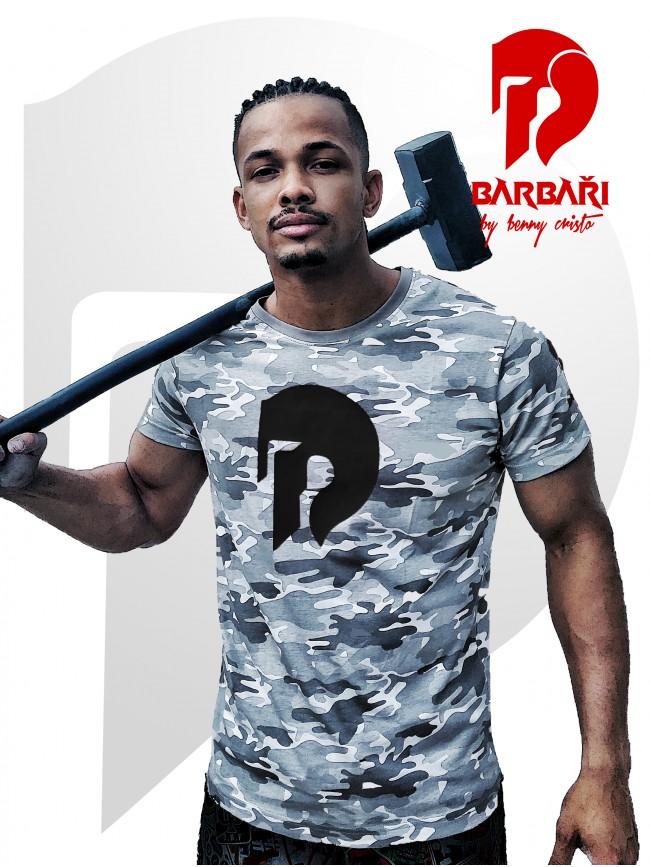 Barbarské tričko - maskáč - černý potisk