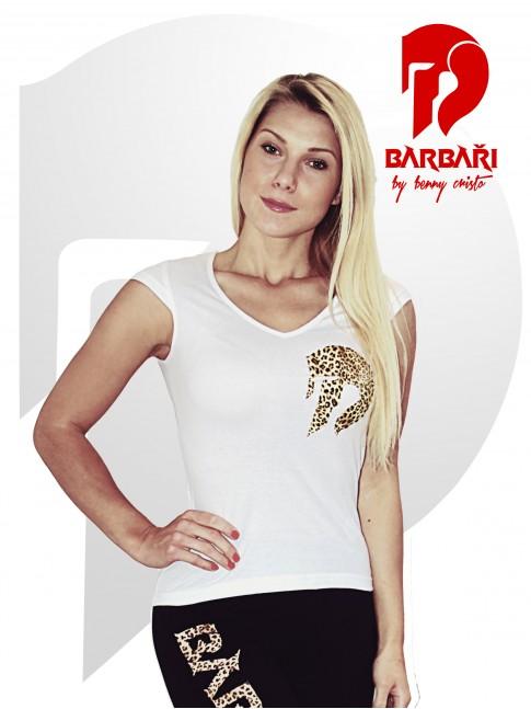 Barbarské tričko - dámské bílé - LEOPARD