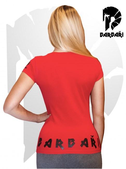 Barbarské tričko s potrhanou helmou - Dámské červené