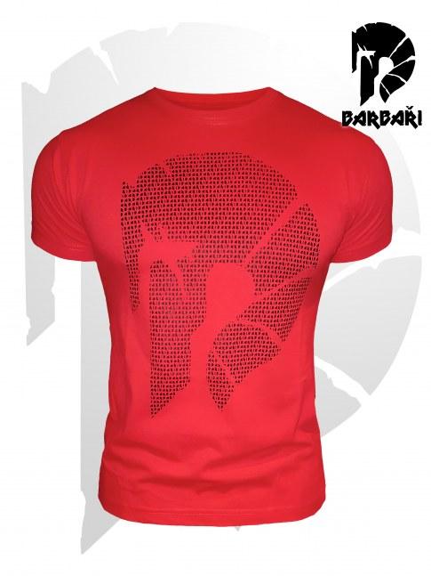 Barbarské tričko s mikronápisy - pánské červené