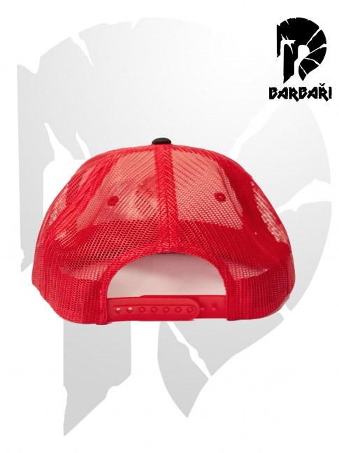 Barbarská kšiltovka Trucker červený s červenou výšivkou