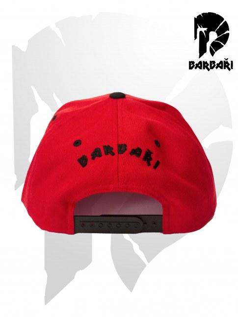 Barbarská kšiltovka Snapback červená s černou výšivkou
