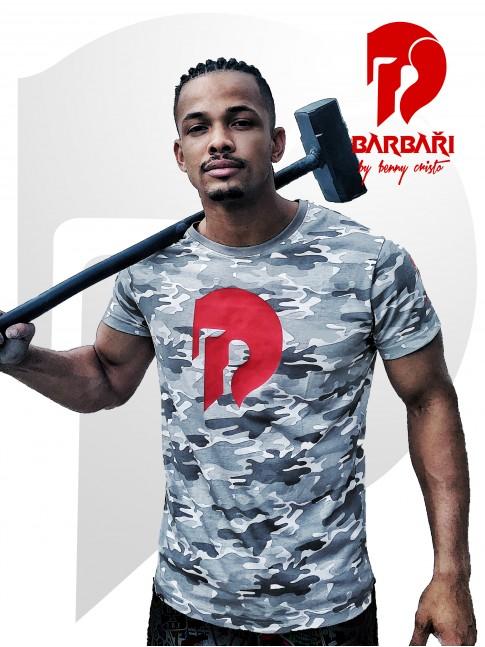 Barbarské tričko - Maskáč - Červený potisk