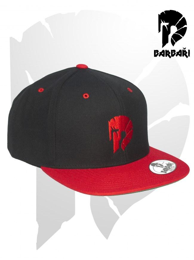 Barbarská kšiltovka Snapback černočervená s červenou výšivkou